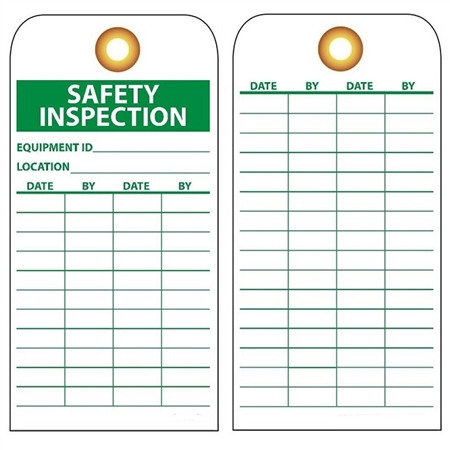 Equipment Status Safety Inspection Tag