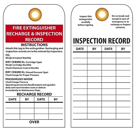 Recharge And Inspection Record I Fire Extinguisher Tags