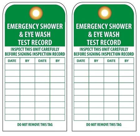 Emergency Shower Eye Wash Test Record Inspection Tags