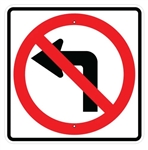NO LEFT TURN SYMBOL Sign - 24 X 24 Engineer Grade or High Intensity Reflective Aluminum