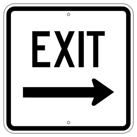 EXIT arrow Right Traffic Sign - 18 X 18 - Type I Engineer Grade Prismatic Reflective