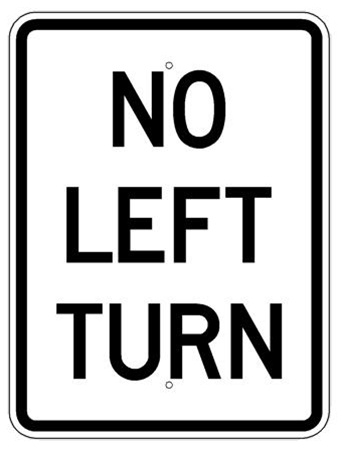 NO LEFT TURN l Traffic Sign