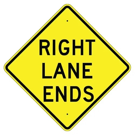 right lane ends warning traffic sign