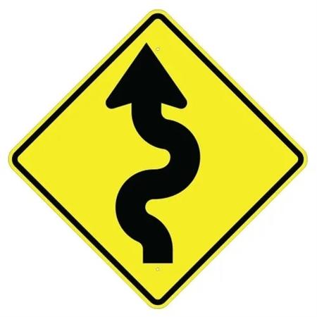 WINDING ROAD LEFT (Symbol) Sign
