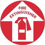 FIRE EXTINGUISHER, 17 inch diameter, Walk on floor sign