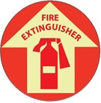 "FIRE EXTINGUISHER, 17"" diameter, Glow in the Dark, Walk on floor sign"