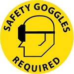 SAFETY GOGGLES REQUIRED, 17 inch diameter, Walk on Floor Decal