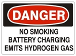 DANGER NO SMOKING BATTERY CHARGING EMITS HYDROGEN GAS Sign - Choose 7 X 10 - 10 X 14, Pressure Sensitive Vinyl, Plastic or Aluminum