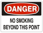 DANGER NO SMOKING BEYOND THIS POINT Signs - Choose 7 X 10 - 10 X 14, Pressure Sensitive Vinyl, Plastic or Aluminum