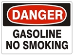 DANGER GASOLINE, NO SMOKING Sign - Choose 7 X 10 - 10 X 14, Self Adhesive Vinyl, Plastic or Aluminum