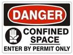 DANGER CONFINED SPACE ENTER BY PERMIT ONLY (w/graphic) Sign - Choose 7 X 10 - 10 X 14, Pressure Sensitive Vinyl, Plastic or Aluminum.