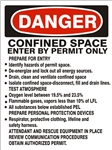 DANGER CONFINED SPACE PREPARE FOR ENTRY CHECKLIST Sign - Choose 7 X 10 - 10 X 14, Self Adhesive Vinyl, Plastic or Aluminum.