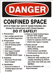 DANGER CONFINED SPACE ENTRY - Checklist Sign - Choose 7 X 10 - 10 X 14, Pressure Sensitive Vinyl, Plastic or Aluminum.