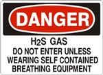 DANGER H2S GAS DO NOT ENTER UNLESS WEARING SELF CONTAINED BREATHING EQUIPMENT Sign - Choose 7 X 10 - 10 X 14, Pressure Sensitive Vinyl, Plastic or Aluminum.