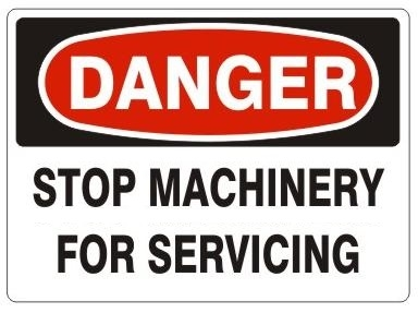 DANGER STOP MACHINERY FOR SERVICING Sign - Choose 7 X 10 - 10 X 14, Pressure Sensitive Vinyl, Plastic or Aluminum.