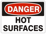 Danger Hot Surfaces Sign - Choose 7 X 10 - 10 X 14, Pressure Sensitive Vinyl, Plastic or Aluminum.