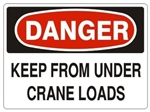 DANGER KEEP FROM UNDER CRANE LOADS Signs - Choose 7 X 10 - 10 X 14, Pressure Sensitive Vinyl, Plastic or Aluminum.