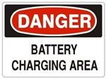 DANGER BATTERY CHARGING AREA Signs - Choose 7 X 10 - 10 X 14, Pressure Sensitive Vinyl, Plastic or Aluminum.
