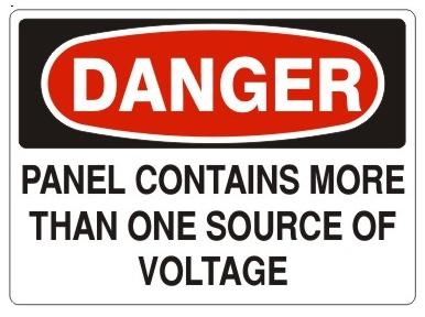 DANGER PANEL CONTAINS MORE THAN ONE SOURCE OF VOLTAGE Sign - Choose 7 X 10 - 10 X 14, Self Adhesive Vinyl, Plastic or Aluminum.