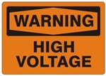 WARNING HIGH VOLTAGE Sign - Choose 7 X 10 - 10 X 14, Self Adhesive Vinyl, Plastic or Aluminum.