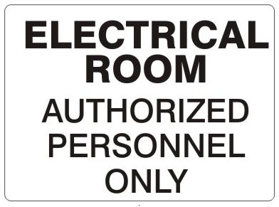WHITE ELECTRICAL ROOM SIGN