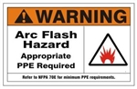 WARNING ARC FLASH HAZARD APPROPRIATE PPE REQUIRED Sign - Choose 7 X 10 - 10 X 14, Self Adhesive Vinyl, Plastic or Aluminum.