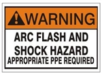 WARNING ARC FLASH AND SHOCK HAZARD APPROPRIATE PPE REQUIRED Sign - Choose 7 X 10 - 10 X 14, Self Adhesive Vinyl, Plastic or Aluminum.