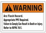 Warning Arc Flash Hazard, Failure to comply can result in death Sign - Choose 7 X 10 - 10 X 14, Self Adhesive Vinyl, Plastic or Aluminum.