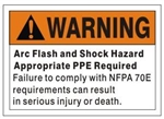 WARNING ARC FLASH AND SHOCK HAZARD......., OSHA Safety Sign - Choose 7 X 10 - 10 X 14, Self Adhesive Vinyl, Plastic or Aluminum.