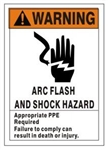 WARNING ARC FLASH AND SHOCK HAZARD Signs and Decals - Choose 7 X 10 - 10 X 14, Self Adhesive Vinyl, Plastic or Aluminum.