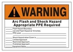 Warning Arc Flash and Shock Hazard (Write on) Appropriate PPE Required Safety Sign - Choose 7 X 10 - 10 X 14, Self Adhesive Vinyl, Plastic or Aluminum.