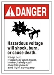 DANGER HAZARDOUS VOLTAGE WILL SHOCK, BURN OR CAUSE DEATH, KEEP OUT Safety Sign - Choose 7 X 10 - 10 X 14, Self Adhesive Vinyl, Plastic or Aluminum.