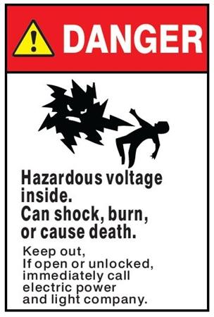 Danger Hazardous Voltage Will Shock Burn Or Cause Death