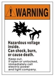 Warning Hazardous Voltage Inside, Can Shock, Burn or Cause Death, Safety Sign - Choose 7 X 10 - 10 X 14, Self Adhesive Vinyl, Plastic or Aluminum.