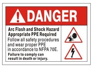 Danger Arc Flash and Shock Hazard Appropriate Personal Protection Equipment (PPE) Required Sign, Follow all safety procedures and wear proper PPE in accordance to NFPA 70E can result in Death or Injury Sign