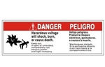 "DANGER / PELIGRO HAZARDOUS VOLTAGE Label, Self Adhesive Vinyl 4"" X 12"""