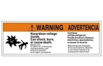 Bilingual ANSI Warning/Advertencia Hazardous Voltage Inside Can Shock Burn or Cause Death Label - Self Adhesive Vinyl 4 X 12