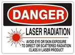 Danger Laser Radiation Avoid Eye and Skin Exposure Sign - Choose 7 X 10 - 10 X 14, Self Adhesive Vinyl, Plastic or Aluminum.