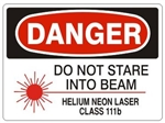 Danger Do Not Stare into Beam Helium Neon Laser Class 111b Safety Sign - Choose 7 X 10 - 10 X 14, Self Adhesive Vinyl, Plastic or Aluminum.