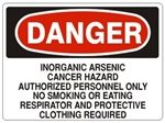 DANGER INORGANIC ARSENIC CANCER HAZARD AUTHORIZED PERSONNEL ONLY Sign - Choose 7 X 10 - 10 X 14, Self Adhesive Vinyl, Plastic or Aluminum.
