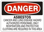 DANGER ASBESTOS CANCER AND LUNG DISEASE HAZARD Sign - Choose 7 X 10 - 10 X 14, Self Adhesive Vinyl, Plastic or Aluminum.