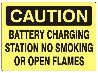 CAUTION BATTERY CHARGING STATION NO SMOKING OR OPEN FLAMES Sign - Choose 7 X 10 - 10 X 14, Self Adhesive Vinyl, Plastic or Aluminum.