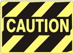 Diagonal Striped CAUTION Hazard Sign - Choose 7 X 10 - 10 X 14, Self Adhesive Vinyl, Plastic or Aluminum.