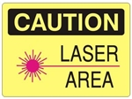 CAUTION LASER AREA Symbol Sign - Choose 7 X 10 - 10 X 14, Self Adhesive Vinyl, Plastic or Aluminum.