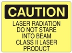 Caution Laser Radiation Do Not Stare Into Beam Class II Laser Product Sign - Choose 7 X 10 - 10 X 14, Self Adhesive Vinyl, Plastic or Aluminum.