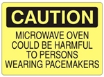 Caution Microwave Oven Could Be Harmful To Persons Wearing Pacemakers Sign - Choose 7 X 10 - 10 X 14, Self Adhesive Vinyl, Plastic or Aluminum.