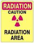 CAUTION RADIATION AREA Sign - Choose 7 X 10 - 10 X 14, Self Adhesive Vinyl, Plastic or Aluminum.