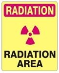 RADIATION AREA Sign - Choose 7 X 10 - 10 X 14, Self Adhesine Vinyl, Plastic or Aluminum.