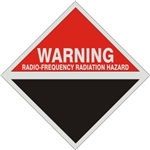 Warning Radio-Frequency Radiation Hazard, Blank Bottom, 9 X 9 Aluminum