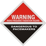 Warning Radio Frequency Radiation Hazard Dangerous to Pacemakers Sign, 9 X 9 Aluminum